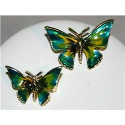 Gorgeous Vintage Enameled Butterfly Scatter Pin #863034