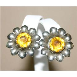Fabulous Vintage Orange Rhinestone Earrings #863044