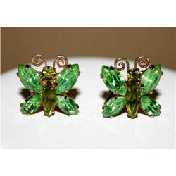 Vintage Butterfly Rhinestone Earrings #863046