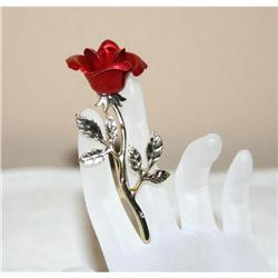Gorgeous Vintage Long Stem Red Rose Brooch #863049