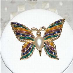 Signed FO Vintage Butterfly Brooch #863052