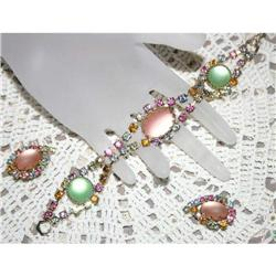 Vintage Pastel Cabochon Bracelet & Earrings #863053