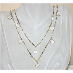 Vintage Gold Plated Bezel Set Glass Necklace #863054