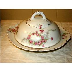 O & E.G. 3 PIECE BUTTER DOME PINK FLORAL WITH #863085