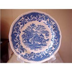 """WOODS, BURSLEM, BLUE TRANSFER PLATE """"SEAFORTH"""" #863096"""