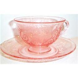 Fostoria Pink Versailles Elegant Cup and Saucer #863582