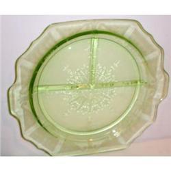 Four Green Princess Depression Glass Grill #863584
