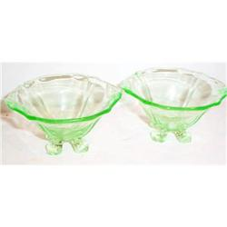 Two Green Depression Glass Cambridge Salts #863589