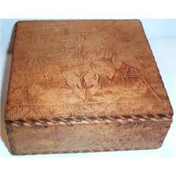 Wooden Pyrography Metal Hinged Box  #863590