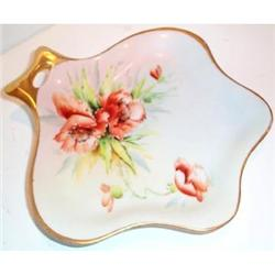 Hand Painted Poppy Decorated German Candy Dish #863597