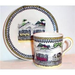 English Railway Decorated Cup and Saucer #863603