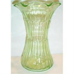 Large Green Flared Depression Glass Vase #863604