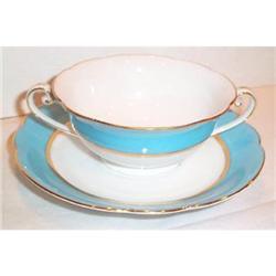 Noritake Blue Striped Cream Soup and Underplate #863620