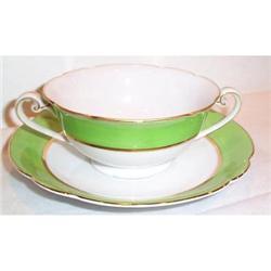 Noritake Green Striped Cream Soup and #863621