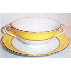 Noritake Yellow Striped Cream Soup and #863622