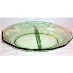 Green Versailles Elegant Glass Divided Relish #863623