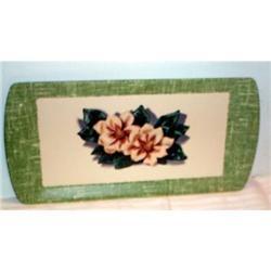 Paper Mache Magnolia Decorated Green Tray #863626
