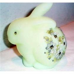 Fenton Hand Painted Custard Bunny Figurine #863633