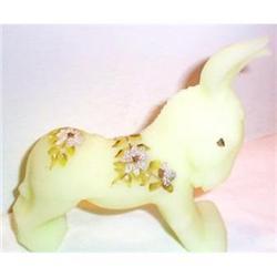 Fenton Hand Painted Custard Donkey Figurine #863635