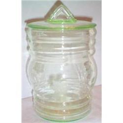 Green Depression Glass Etched Cracker Jar #863643