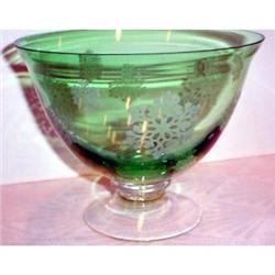Green Etched Snowflake Footed Center Bowl #863644