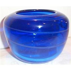 Cobalt Blue White Swirl Art Glass Vase #863660