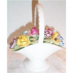 English Porcelain Flower Filled White Basket #863664