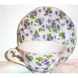 Lefton Violet Chintz Cup and Saucer #863666