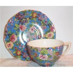 Blue Floral Chintz Cup and Saucer -Crown Ducal #863668