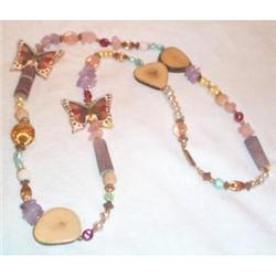 Costume Rose Quartz and Butterfly Necklace #863684