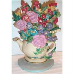 Hand Painted Floral Midwest Cast Iron Door Stop #863688