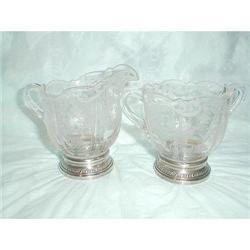 CAMBRIDGE CHANTILLY CREAM & SUGAR W/STERLING #863830