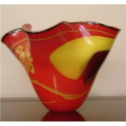 Estate Hand blown glass vase bowl red yellow #863840