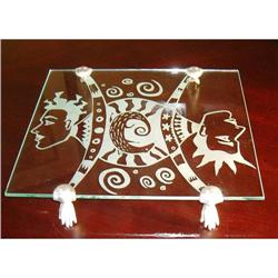Designer glass cutting board with pewter feet #863841