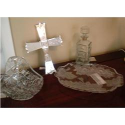 Glass lot: Mirror Cross Glass vase Decanter #863842