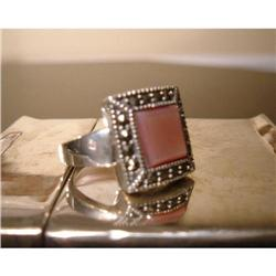 sterling silver marcasite mother of pearl ring #863843