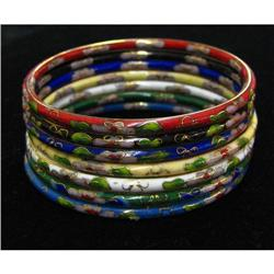 Cloisonne Enamel Bangle Bracelet Set #863846