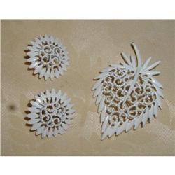Monet Vintage Brooch&Earrings,White #863943