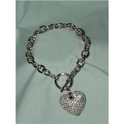 Silver HeartToggle Bracelet,Doublesided #863952
