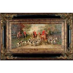 Hunting Day - by Ferdinand Rossignol - Oil on #886302