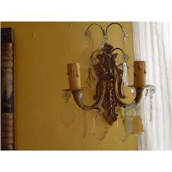 bronze  and crystal sconces #886316