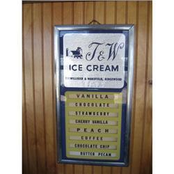 Vintage T &W Ice Cream Flavor Board Sign #896408