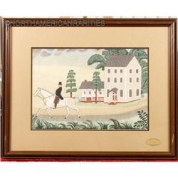 Pennsylvania, Ohio 2 Original Folk Watercolors, #896414