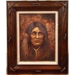 Hal Kettle, Orig Oil,  Native American Apache  #896422