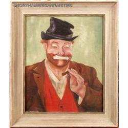 """Framed """"Red Skelton, Clown Portrait"""" Oil on #896426"""