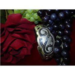 SILVER ON GOLD RUSSIAN  ENAMELED BANGLE #896438