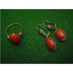 GOLD SET - RING & EARRINGS  W/ORANGE CORAL  #896441