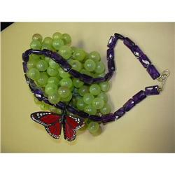 A LOVELY RECTANGLE AMETHYST LINK NECKLACE #896445