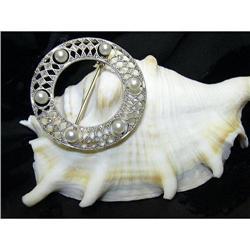 ESTATE BROOCH - WHITE GOLD, PEARL & DIAMOND  #896453