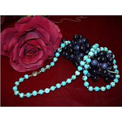YELLOW GOLD AND TURQUOISE BEAD NECKLACE  #896457